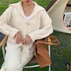 Plain Toggle Cardigan Off-white - One Size