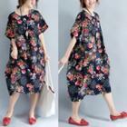 Elbow-sleeve Patterned Oversized Midi Dress