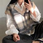 Shirt / Plaid Knit Vest