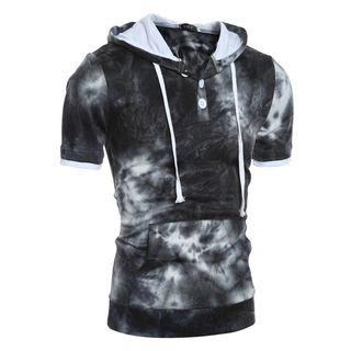 Short-sleeve Dyed Hooded Top