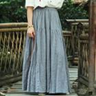 Plain Tiered Maxi Skirt