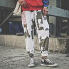 Lettering Embroidered Camo Jogger Pants