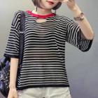 Cut Out Striped Elbow-sleeve Knit Top