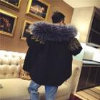 Faux-fur Trim Embroidered Hooded Padded Jacket