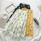 Avocado Printed Midi Skirt