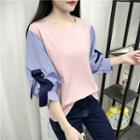 Striped Panel 3/4 Sleeve Blouse