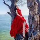 Sleeveless Frill-trim Chiffon Maxi Beach Dress
