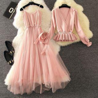 Set: Knit Top + Spaghetti Strap Mesh A-line Dress