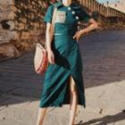 Set: Short-sleeve Buttoned Cropped Top + Slit-side Midi Skirt