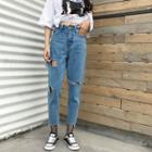 Regular-fit Distressed Cropped Jeans
