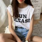 Lettering Ripped Tank Top