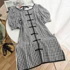 Plaid Square-neck Qipao Dress