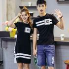 Couple Matching Striped Short Sleeve T-shirt / Short Sleeve T-shirt Dress