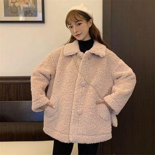 Set: Single-breasted Furry Jacket + Crossbody Bag