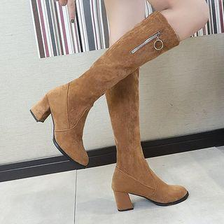 Chunky Heel Zip Detail Tall Boots