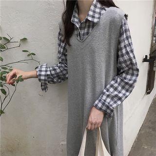 Gingham Shirt/ Slit-side Midi Tank Dress