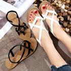 Plain Faux-leather Flat Sandals
