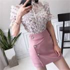 Sheer Lace-yoke Floral Print Blouse