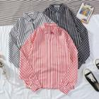 Striped Split-neck Shirt
