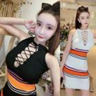 Striped Panel Lace-up Halter Sleeveless Knit Dress
