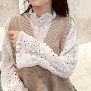Bell-sleeve Dotted Chiffon Top White - One Size