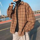 Plaid Woolen Padded Button Jacket