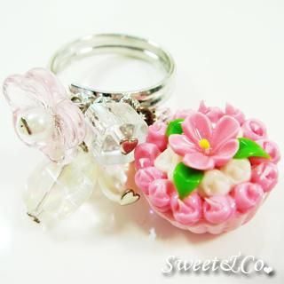 Sweet Floral Pink Cupcake Pearl Silver Ring