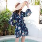 Set: Floral Print Bikini + Cover Up Playsuit