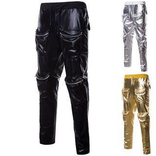 Drawstring Pocket Metallic Sweatpants
