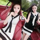 Sleeveless Color Block Knit Mini Bodycon Dress