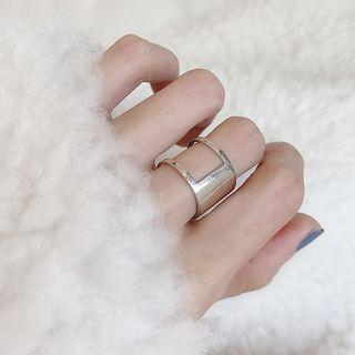 925 Sterling Silver Geometric Open Ring 1 Pc - Cut-out - Silver - One Size