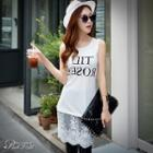 Sleeveless Lace Panel Lettering Long Top