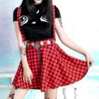 Suspender Plaid A-line Skirt