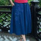 Flower Embroidered Midi Flared Skirt