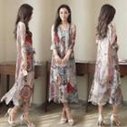Set: Sleeveless Silk Printed Midi Dress + Long Top
