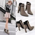 Faux-suede Buckled Chunky Heel Ankle Boots