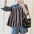 3/4-sleeve Denim Paneled Striped Shirt