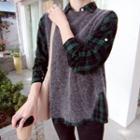Sleeveless Slit-back Wool Blend Knit Top