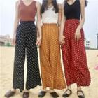 Cropped Wide-leg Dotted Pants