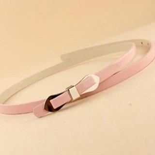 Bow-accent Faux Leather Slim Belt