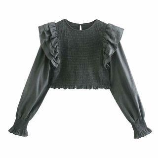 Ruffled Round-neck Cropped Top