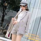 Set: Herringbone Double-breasted Blazer + Dress Shorts