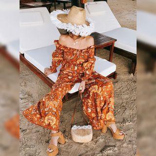 Off-shoulder Floral Print Smocked Blouse / Wide Leg Pants