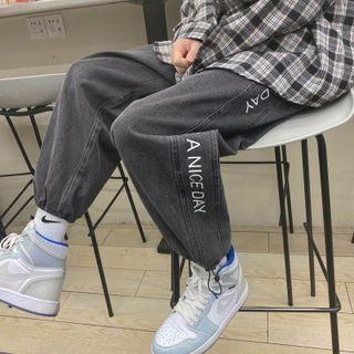 Lettering Print Drawstring Cuff Jeans