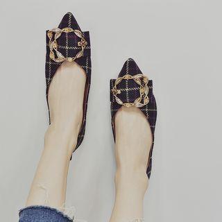Plaid Pointy-toe Flats