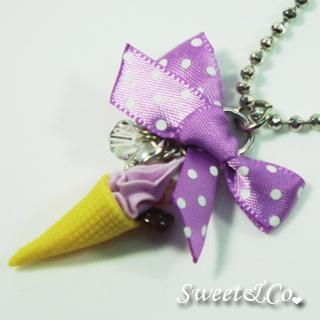 Sweet Polka Ribbon Berry Ice-cream Pearl Necklace