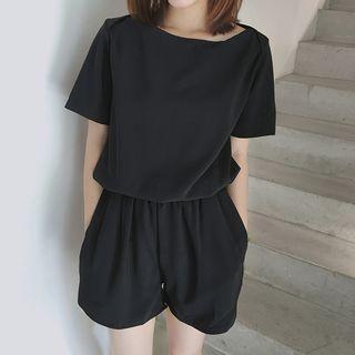Plain Short Sleeve Playsuit