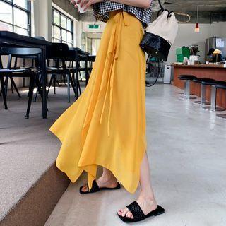 Tie-side Handkerchief-hem Maxi Wrap Skirt