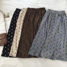 Polka Dot Velvet High-waist Pleated Skirt