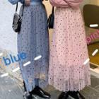 Dotted Midi Accordion Pleated Mesh Skirt